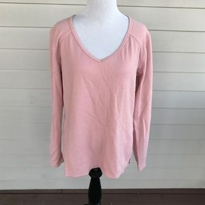 Z by Zella Knit Shirt Cut Out Back Long Sleeves